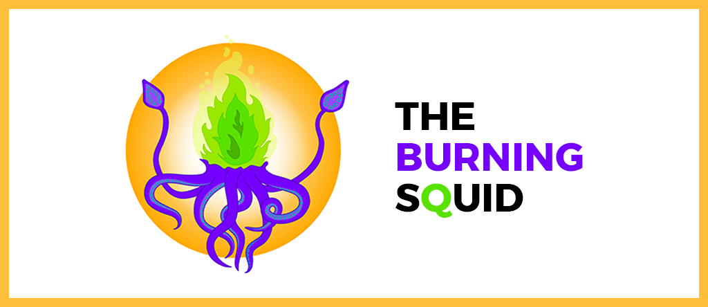 The Burning Squid logo ja teksti